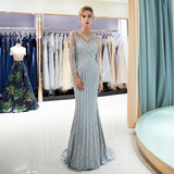 Gorgeous Long Sleeves Mermaid Evening Beaded Crystal Prom Dress