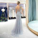 Gorgeous Beaded Crystal Mermaid Open Back floor Length Silver Prom Dress
