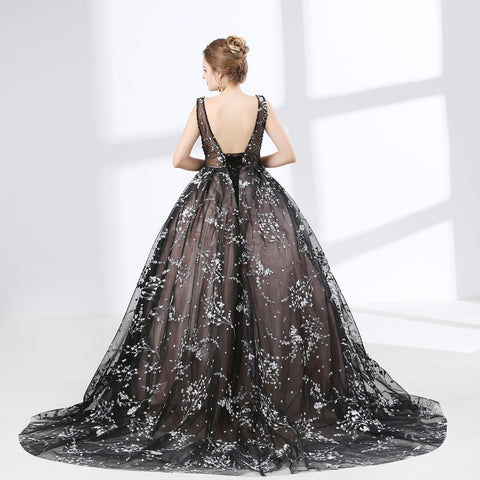 Gorgeous V-Neck Black Lace Up Ball Gown Prom Dress
