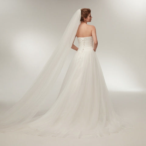 Gorgeous Strapless Backless A-Line Tulle Bridal Gown Dress
