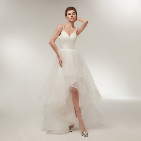 Beach Ivory Hi-Lo Lace Up Backless Bridal Gowns Ruffle Tulle Wedding Gown Dress