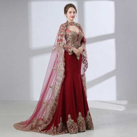Gorgeous Middle East Dark Red Mermaid Long sleeves Gold Lace Appliques Prom Dress
