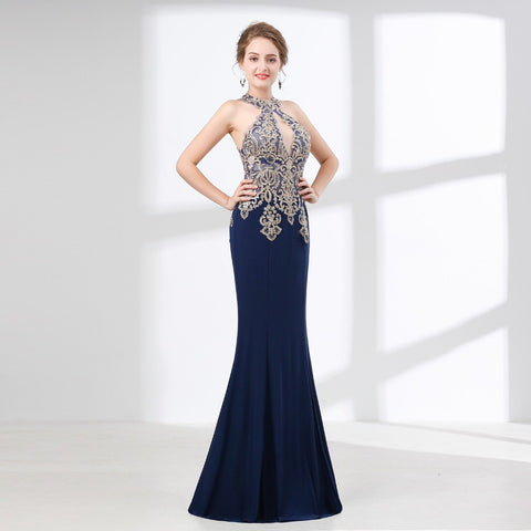 Elegant Navy Blue Gold Lace Appliques Halter Mermaid Floor Length Party Gown