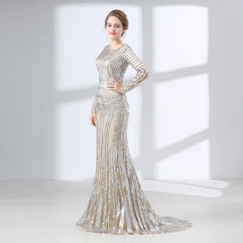 Gorgeous Silver Sequined Mermaid Long sleeves Sweep Train Prom Dress