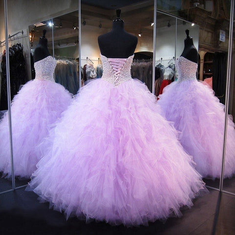 Lavender Quinceanera Beaded Pearls Backless Prom Dress