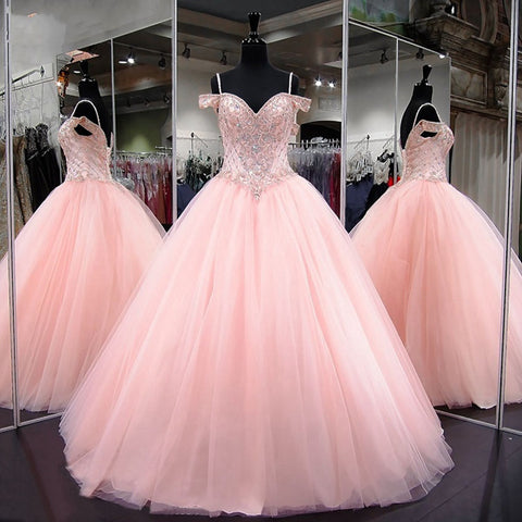 Gorgeous Beaded Crystal Pink Quinceanera Floor Length Tulle Spaghetti Straps Prom Dress