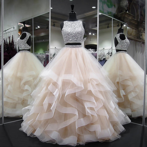 Sprkly Two Pieces Champagne Quinceanera Backless Ball Gown Prom Layered Beaded Crystal Dress