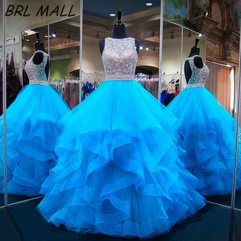Sparkling Sky Blue Quinceanera Beaded Crystl Backless Ball Gown Dress
