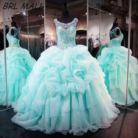 Elegant Mint Quinceanera Ball Gown Beaded Crystal Ruffle Backless Organza Dress