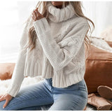 Turtleneck Crop Fall Long Sleeve Solid Over-sized Short Pullover Bat wing Sleeve