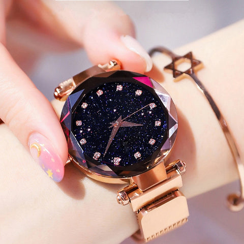 Luxury Starry Sky Magnetic Wristwatch Rhinestone Watch