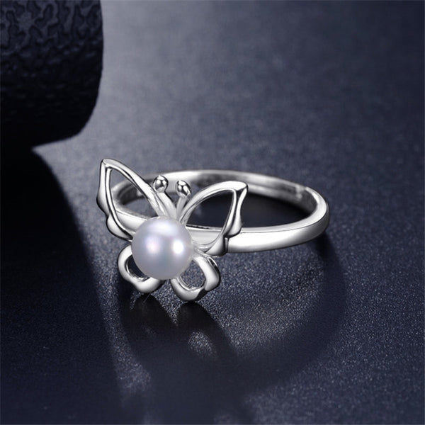 Elegant Butterfly Freshwater Pearl 925 Sterling Silver Ring