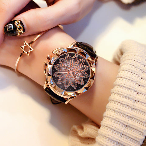 Luxury Starry Rhinestone Quartz Creative Wristwatches Leather Strap Crystal Hour