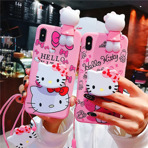 Cute Hello Kitty Soft Silicone Pink Doll Case