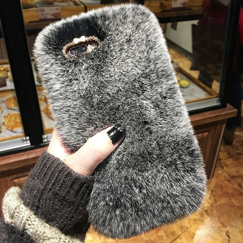 Luxury Rabbit Fur Bling Diamond Winter Soft Phone Case Redmi Lovers