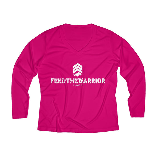 Women's Long Sleeve Performance V-neck Tee- Feed The Warrior