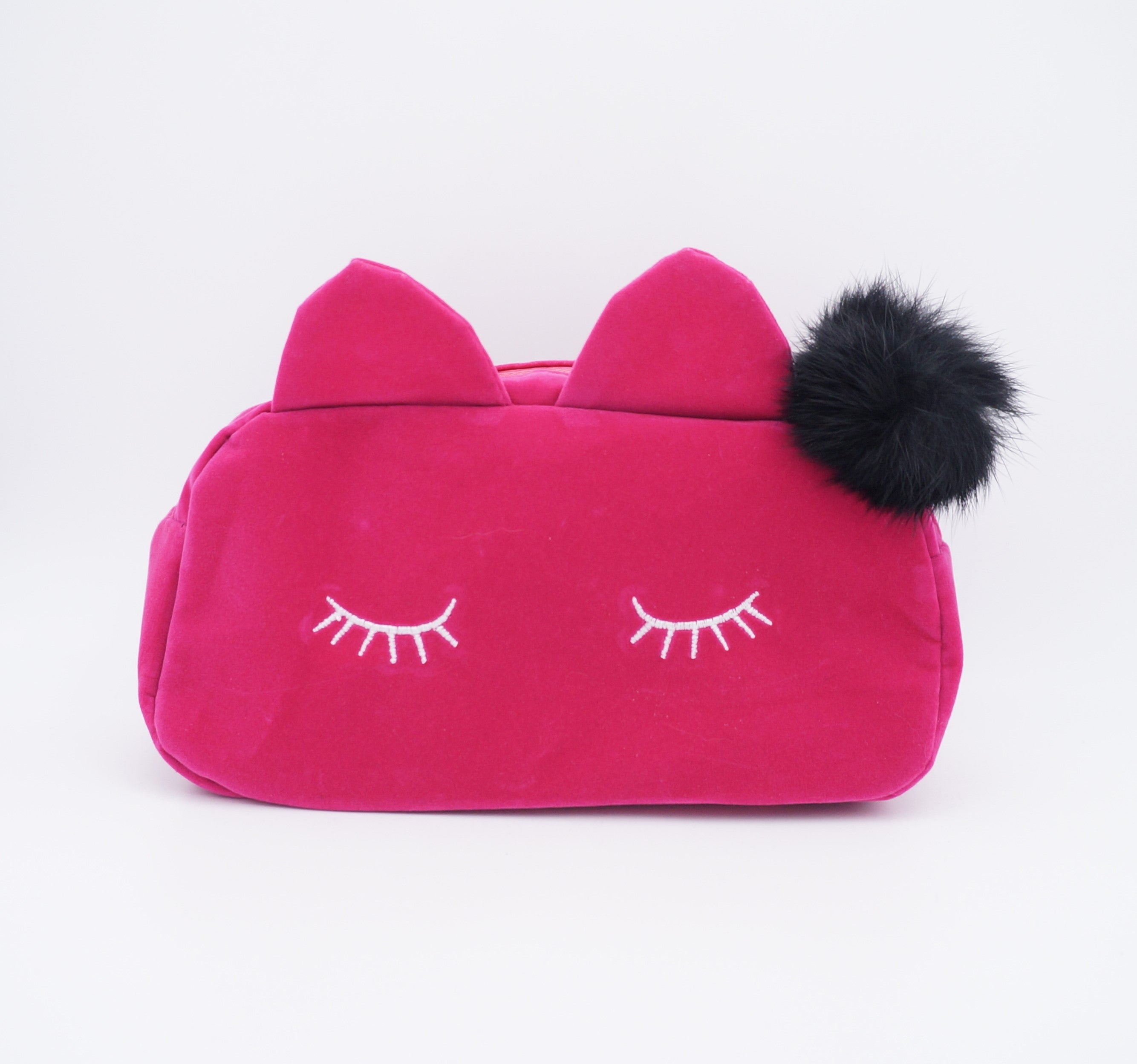 Trousse à Maquillage Chat Rose Velours - Ambelle