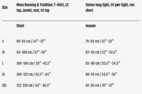 fusion running apparel sizing guide