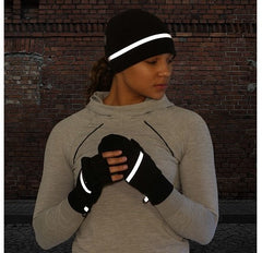 woman wearing trailheads winter running hat and gloves