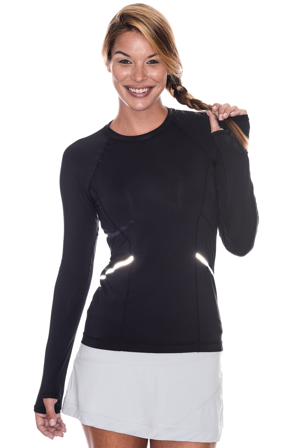 bloquv reflective long sleeve sun protection running shirt black