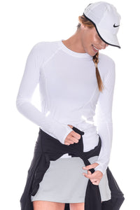 bloquv reflective long sleeve sun protection running shirt white