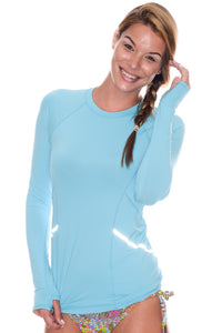 bloquv reflective long sleeve sun protection running shirt light turquoise