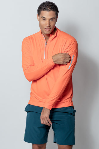 bloquv quarter zip long sleeve performance sun protection running orange