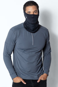 bloquv quarter zip long sleeve performance sun protection running smoke