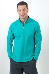 bloquv quarter zip long sleeve performance sun protection running caribbean blue