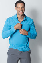Load image into Gallery viewer, bloquv quarter zip long sleeve performance sun protection running ocean blue