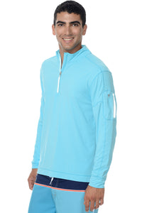 bloquv quarter zip long sleeve performance sun protection running light turquoise