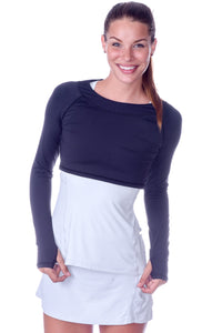 bloquv women's long sleeve crop performance sun protection running black