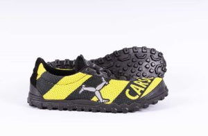 bee styled running shoe in profile view