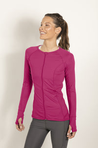 bloquv full zip long sleeve women's performance running passion pink