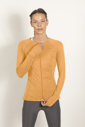 bloquv full zip long sleeve women's performance running tangerine