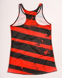 red and black running tank rear view