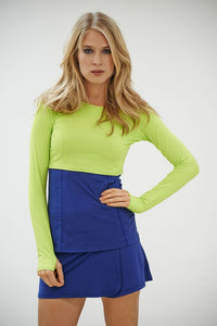 bloquv women's long sleeve crop performance sun protection running key lime