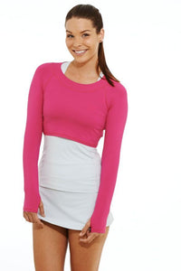 bloquv women's long sleeve crop performance sun protection running passion pink