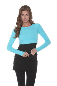 bloquv women's long sleeve crop performance sun protection running light turquoise