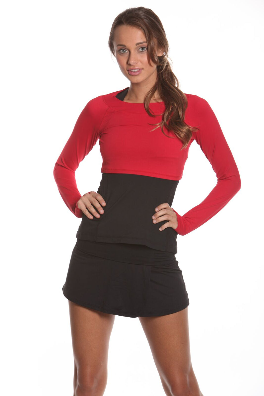 bloquv women's long sleeve crop performance sun protection running red