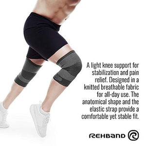 rehband knee support knitted sleeve grey benefits