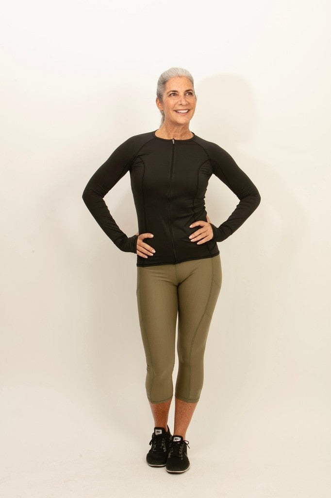 bloquv sun protection compression running capris army green women's