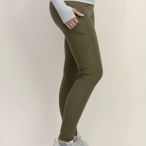 BLOQUV compression long tights no stripe army green women's