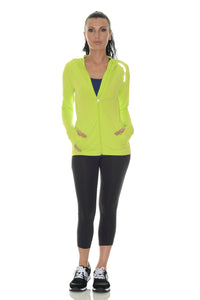 Bloquv sun protection running hoodie Key lime