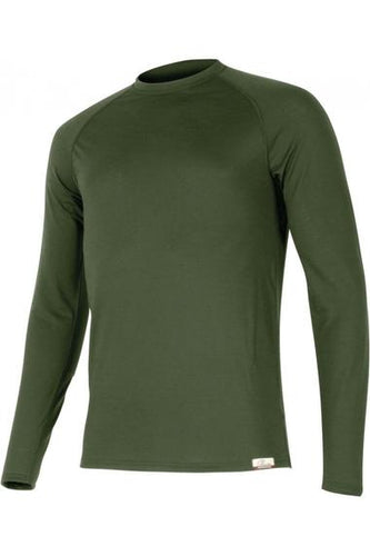 lasting atar men's 160g merino wool long sleeve performance running green