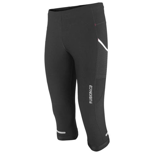 Fusion c3 3/4 performance running tights black front