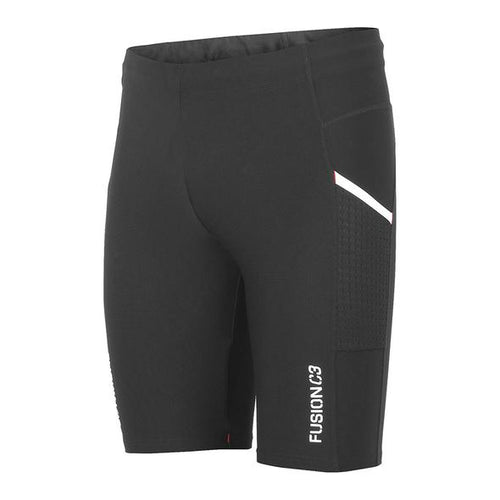 fusion c3 performance compression running short tights black front
