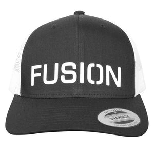 fusion performance running trucker hat black and white