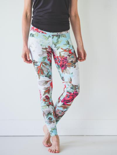 colorado threads teal floral leggings women's