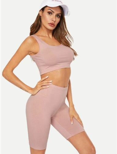 shein women's crop top and shorts pink